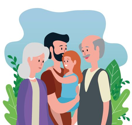 old woman and man couple with their son and granddaughter to family together, vector illustration Ilustração