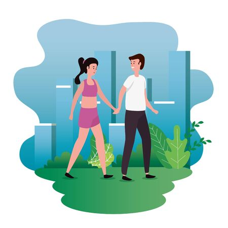woman and man couple with bushes plants in the cityscape Ilustração