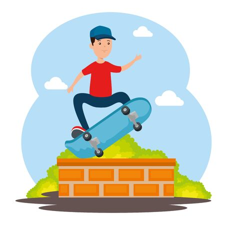 boy kid praction skateboard with casual clothes in the park and juping wall vector illustration