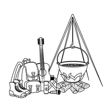 camping travel bag with woodfire and equipment vector illustration design Illustration