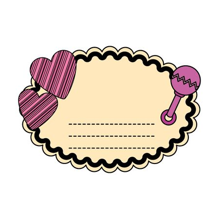 baby shower card with heart and maraca vector illustration design Ilustração