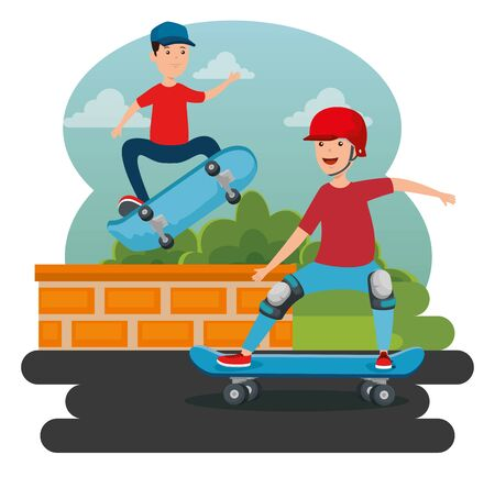 boys practing skateboard with helmet in the park and jumping wall vector illustration 일러스트