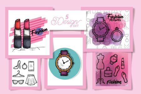 Pięć wzorów odzieży damskiej, sklep odzieżowy w stylu sklepowym i wykonanym motywem ilustracji wektorowych