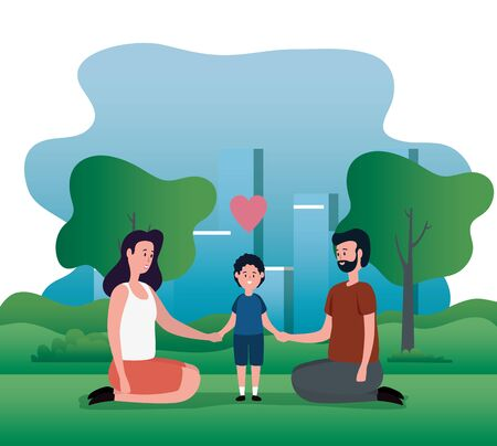 woman and man couple with their son and heart to family together, vector illustration