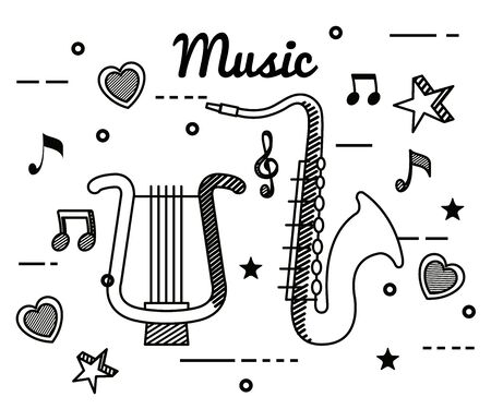 harp and saxophone with treble clef and quaver with beam notes to music melody vector illustration Ilustração