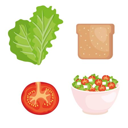 set of lettuce with wholemeal bread and tomato with salad over white background vector illustration