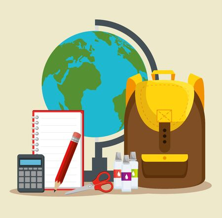 global map with backpack and notebook with scissors and watercolor to back to school vector illustration Ilustração