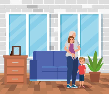 cute grandmother with her girl and boy kids in the home, vector illustration
