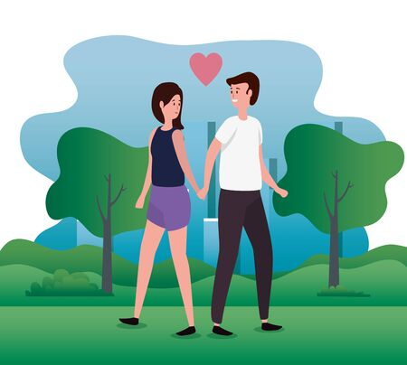 woman and man couple in love together with trees and mountains, vector illustration Banco de Imagens - 139943484