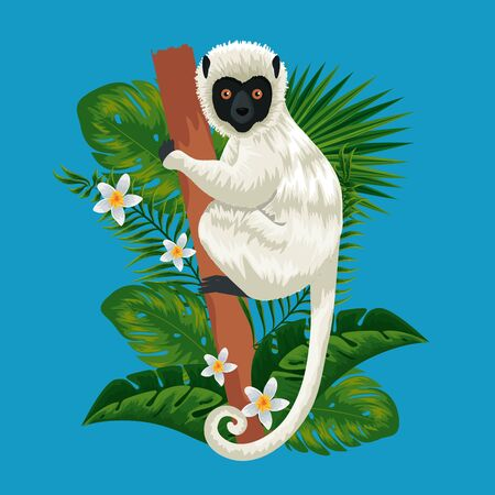 lemur in the branch with exotic flowers and leaves vector illustration