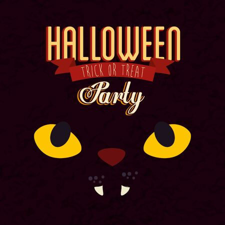 poster of party halloween with face cat vector illustration design  イラスト・ベクター素材
