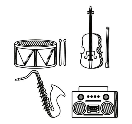 set of drum with violin and saxophone instrument with radio to music melody vector illustration