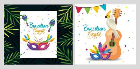set poster of brazil with decoration vector illustration design
