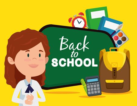 girl with blackboard and calculator with books and clock alarm to back to school vector illustration Ilustração