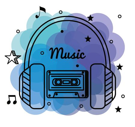 headphones and cassette with treble clef and quaver with beam notes to music melody vector illustration Ilustração