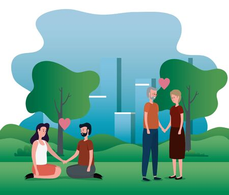 old woman and man with young couple with heart to family together, vector illustration
