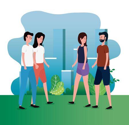 cute women and men together couple with bushes plants, vector illustration Banco de Imagens - 139951151