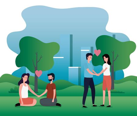 women and men couple together with hairstyle and trees with mountains, vector illustration