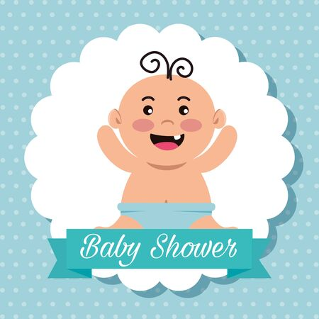 label of baby with diaper and ribbon message decoration to celebration event vector illustration