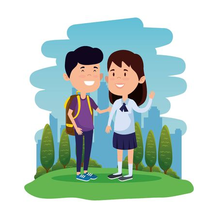 happy little students couple with schoolbag in the field vector illustration design