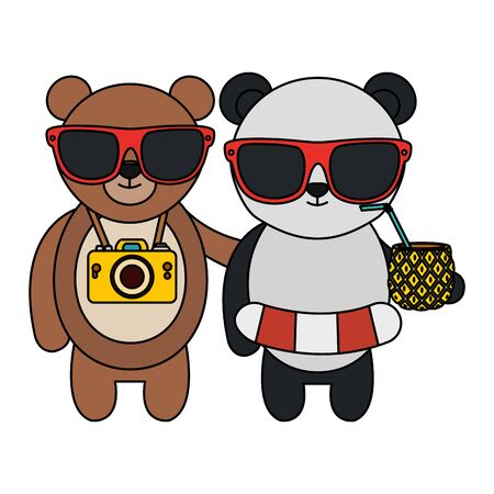 cute bears with camera and pineapple cocktail vector illustration design