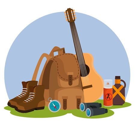 guitar with backpack and boots to nature camping to summer adventure vector illustration