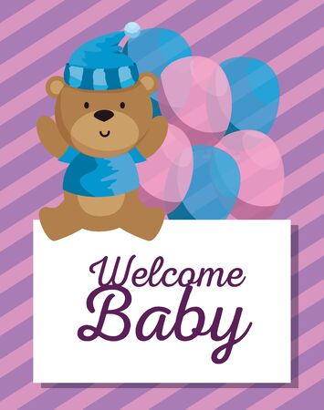card of bear with hat and shirt with balloons decoration to baby shower vector illustration