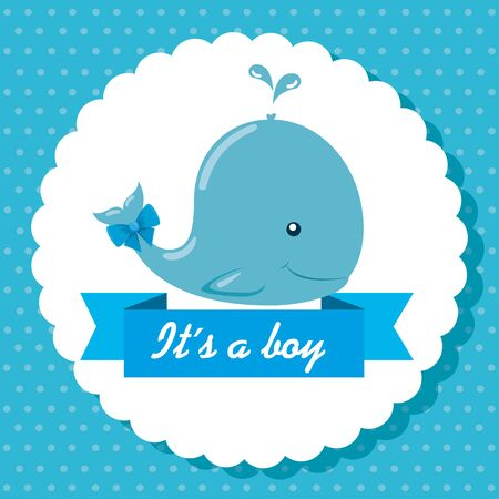 label of blue whale and ribbon with its a boy message to baby shower vector illustration