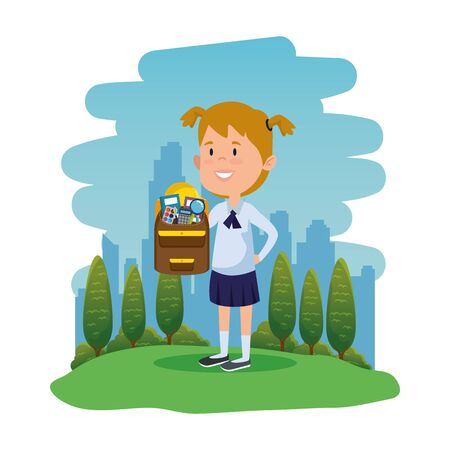 happy student girl with school bag in the field vector illustration design