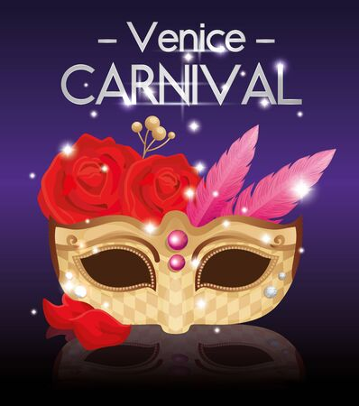 poster of venice carnival and mask and decoration vector illustration design