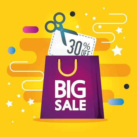 commercial label with big sale lettering and shopping bag vector illustration design