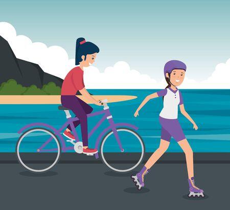 girls training fitness exercise activity to summer sport vector illustration 일러스트