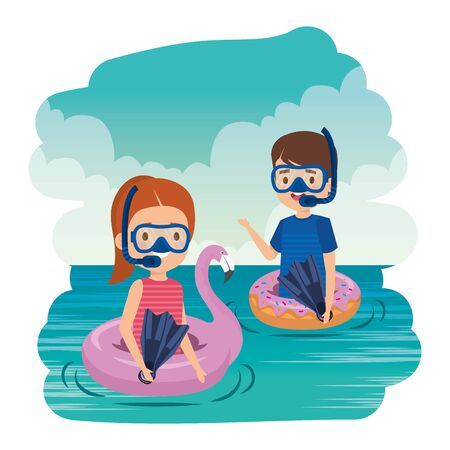 little kids couple with floats and snorkels in the sea vector illustration design