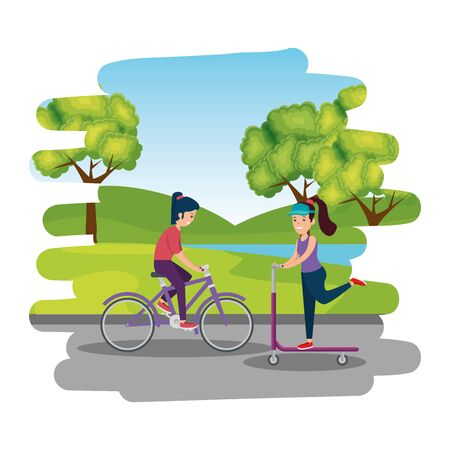 happy athletic girls in skateboard and bicycle on the park vector illustration design Ilustracja