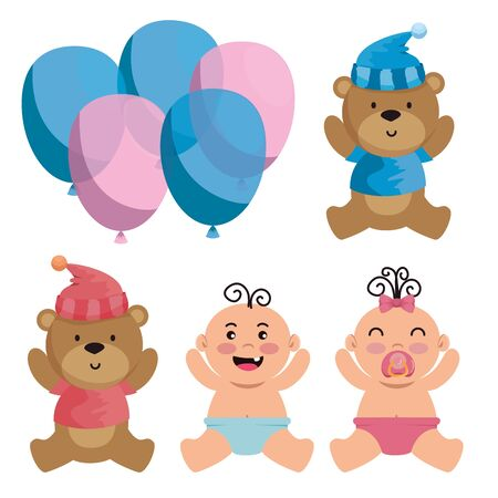 set of bears with hat and shirt with babies and panties over white background vector illustration Ilustracja