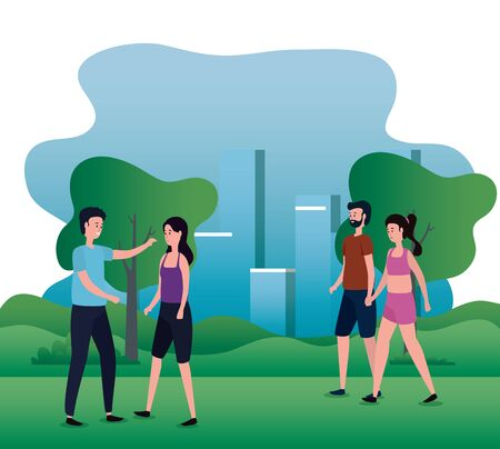 women and men in love couples with casual clothes and trees and mountains, vector illustration Banco de Imagens - 139954119
