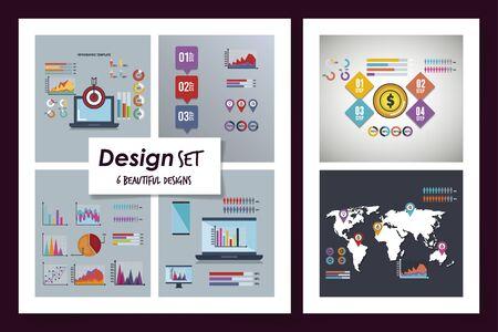 six designs of statistics infographic icons vector illustration design