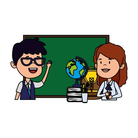 students couple with chalkboard and supplies vector illustration design