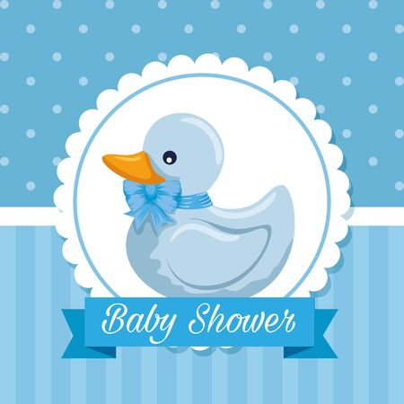 label invitation with duck and ribbon message to baby shower vector illustration Ilustracja