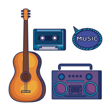 set of guitar instrument with play radio and cassette over white background vector illustration Ilustração