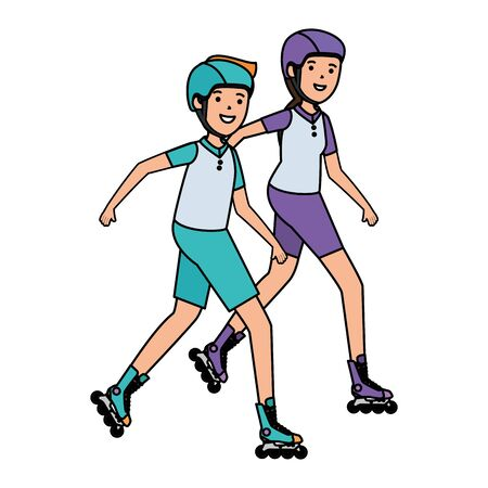 happy athletic couple in skates vector illustration design