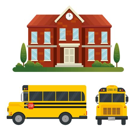 set of school with trees and bus vehicle transport over white background vector illustration