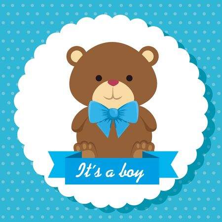 label of boy teddy bear and ribbon its a boy message to baby shower vector illustration