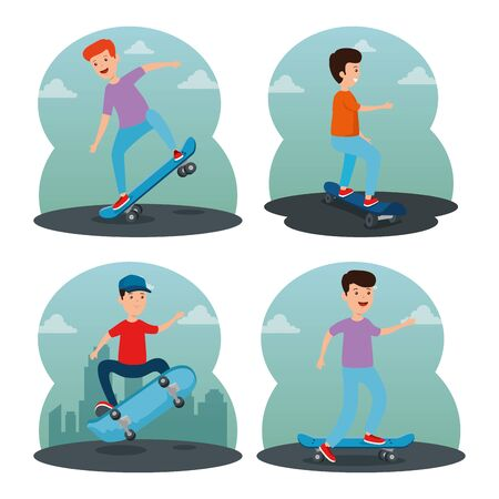 set of happy boys and girl playings skateboard in the park with clouds vector illustration