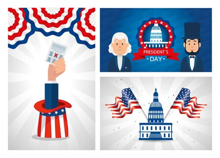 Men avatars cartoons design, Usa happy presidents day united states america independence nation us country and national theme Vector illustration Ilustrace