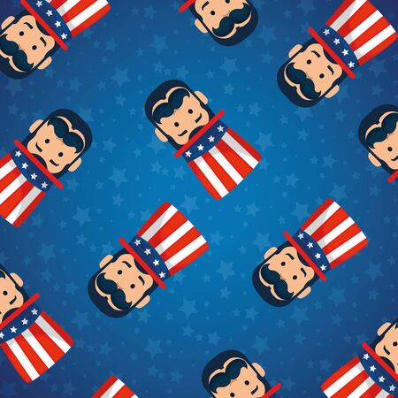 Men avatars cartoons background design, Usa happy presidents day united states america independence nation us country and national theme Vector illustration Ilustrace