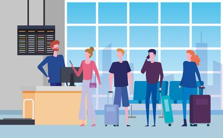 women and men with baggages and screen trip to travel service, vector illustration