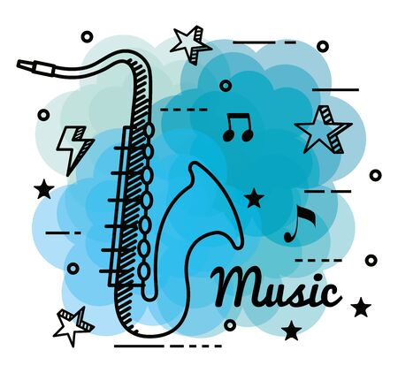 trumpet instrument with stars and quaver with beam notes to music melody vector illustration Ilustração