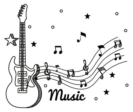electric gruitar with treble clef and quaver with beam notes to music melody vector illustration