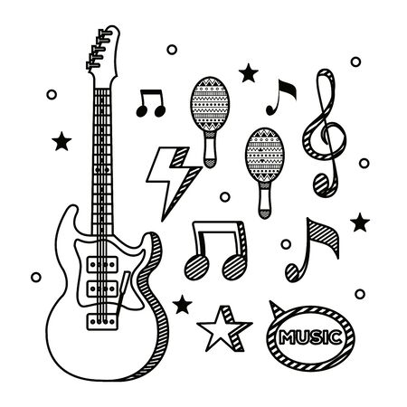 set of electric guitar and maracas instrument with musical notes over white background vector illustration